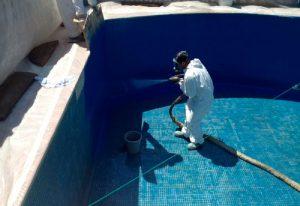 Antes y Después de la aplicaciones de pintura de clorocaucho para piscinas. Nordcolor.